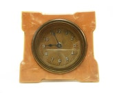 Vintage Lux celluloid clock face and bezel for parts, Art deco design