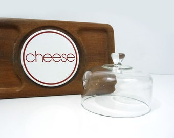Vintage teak GoodWood cheese tray with glass cloche, Serving tray