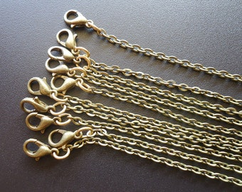 """Finished Necklace Chains - 16"""" 18"""" 20"""" 22"""" 24"""" 26"""" 28"""" 30""""- Antique Bronze or Shiny Gold - Set of 10"""