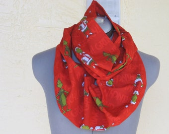 The Grinch Infinity Scarf - Great for a Stocking Stuffer - Christmas Gift
