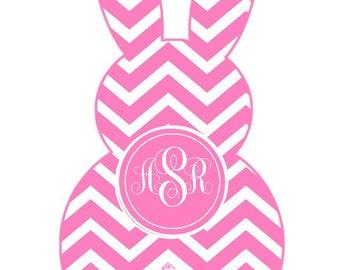 Easter Bunny shape chevron monogram Pink