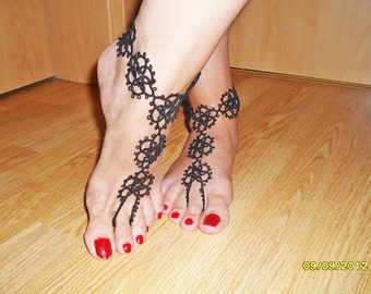 Tatted Victorian ankle corsets (pair)- Tatting Barefoot Sandals