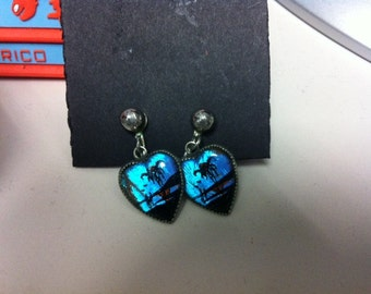 Vintage butterfly wing screw on heart earrings