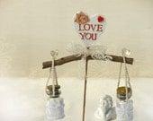 pair  lace- LOVE- bottles , Love note, Wedding cake topper, Cute wedding cake topper, Bridesmaid invitation, Rustic bottles , Make a wish.