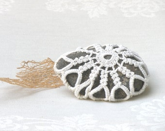 Rustic wedding decor, Shabby chic decor, Wedding  Favors Incpirational Decor, Ring Bearer Pillow Alternative, Crochet Lace Stone.