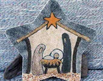 Nativity star original sand painting art work creche jesus mary joseph nativity packaged in a colorful gift bag rustic primitive 14K1