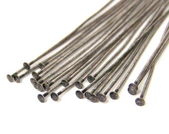 antiqued silver headpins findings, 2 inch 22 gauge, silver plated brass, 80 pieces (552FD)