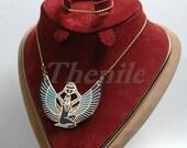 Egyptian Enameled Winged Isis Holding Scarab Necklace halloween