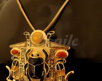 Amazing Egyptian Scarab Necklace With Cobra's & the Solar Boat