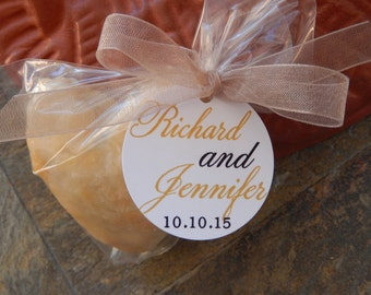 """Custom Wedding Favor Paper Tags - For Cake Pops - Lollipops - Cookies - Desserts - Wedding Favors - (60) 1.5"""" Personalized Printed Tags"""