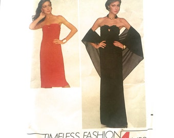 80s Butterick 4169 Strapless Dress Evening Or Knee Length in 4 Hours Size 6 Bust 30