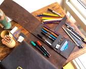 Moore iPad notebook, handmade leather journal, pencil pocket organizer, notebook pocket organizer, sketchbooks, folios by Aixa Sobin, maker
