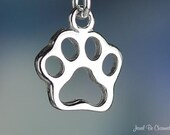 Paw Print Open Style Charm Sterling Silver Dog Cat Pawprint Tiny .925