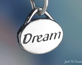 Sterling Silver Dream Charm Oval for Dreams Dreaming Small Solid .925