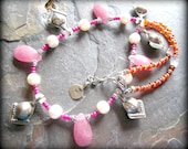 Kuchi Necklace, Tribal Gypsy Jewelry, Ethnic Necklace, Nomad Wanderlust Rustic Pink Necklace, Goddess Bellydance Jewelry