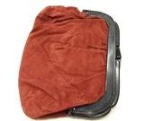 Vintage Velveteen Bag GENIE Rose or Ruse Color Super Soft Hong Kong Clutch