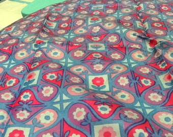Vintage GLENTEX Square Scarf Silk Square Scarf Japan Blue With Pink Flowers