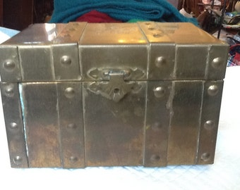 Vintage Brass Chest Box Red Velvet Interior