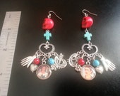 """Frida Kahlo 3"""" Silver Finish Red and Turquoise Dangle Earrings"""