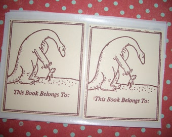 Bookplates - Dinosaur with little Boy - This Book Belongs To - Sid Hoff - Set of Six