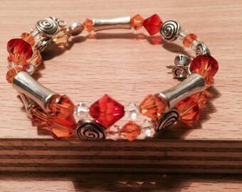 Fire Swarovski  Crystal  Wrap Bracelet