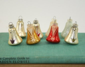 Eight Vintage Glass Bell Shaped Christmas Ornaments, Made in Austria