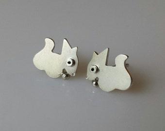 SQUIRREL Stud Earrings Sterling Silver Mini Zoo