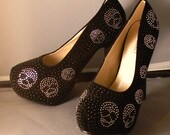 Black crystal Skull shoes