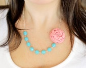 Pink and light blue fabric flower necklace, beaded necklace, statement necklace