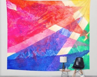 Colorful Rainbow Geometric abstract watercolor painting wall tapestry wall art wall hanging Bright Colorful affordable home and dorm decor
