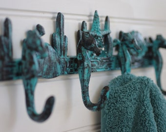 Cast Iron Seahorse Reef Wall Hook - Seahorses, Coral, and Starfish - Towel Holder