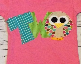Owl birthday shirt, 2nd, 2,  t shirt, girl pink,