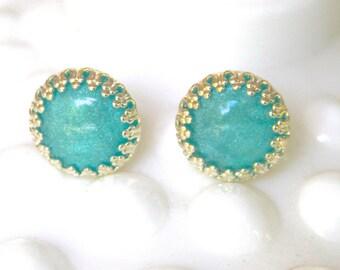Aqua Blue Sparkle Silver Princess Prong Rhinestone Post Earrings - Wedding, Beach, Bride, Bridesmaid, Gift