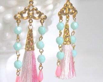 Pink Tassel Mint Green Gold Plated Beaded Drop Dangle Earrings -  Wedding, Beach, Bridal, Boho, Bridesmaid