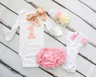 Baby Girl 1st Birthday Outfit Cake Smash Set of 3 or 4 Items ONE & Bow Bodysuit, Lace Bloomers Diaper Cover, Leg Warmers Lace Headband Gift
