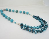 Turquoise and Howlite Necklace, Double Strand Necklace, Statement Turquoise Necklace, Chunky Necklace, Gemstone Necklace, UK Seller
