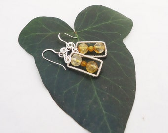 Citrine Wire Wrapped Earrings, Sterling Silver Earrings, YellowEarrings, Gemstone, Handmade Jewelry, UK Seller