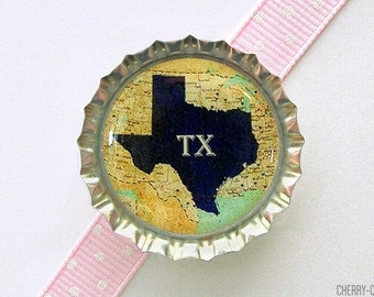 Choose Your State Bottle Cap Magnet, us state magnets, texas kitchen organization, texas magnet, texas decor, map magnet, map gifts