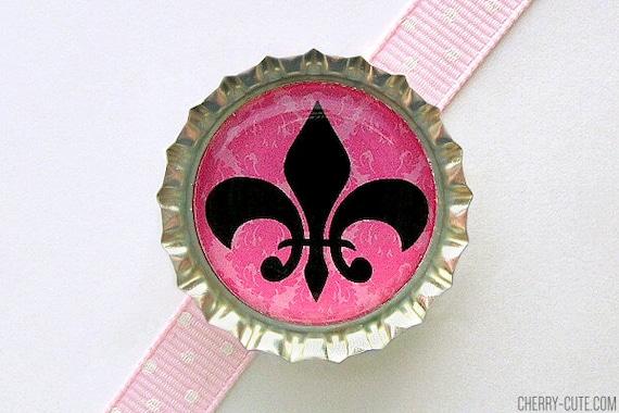 Fleur de Lis Pink Paris Bottle Cap Magnet - french country home, fleur de lis decor, fleur de lis decoration, pink fleur magnet, paris decor