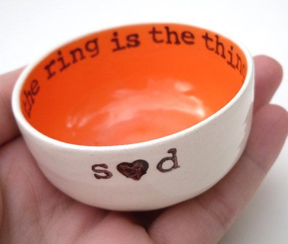 handmade ceramic RING HOLDER custom wedding ring dish bridal shower gifts for bride custom text wedding gift ring holder ring pillow