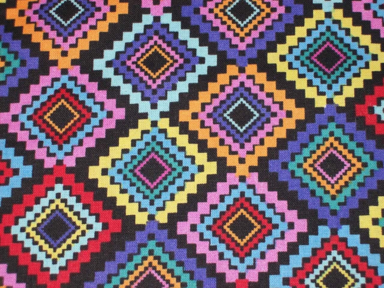 Per Yard Small Diamond Tribal print fabric/ Native print