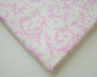 Pink and Ivory Leaf Spray Fabric, Cotton Quilting Fabric, OOP