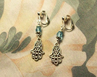 Clip on or Pierced Tibet Silver Hamsa Hand Turquoise 19 Colors to Choose From