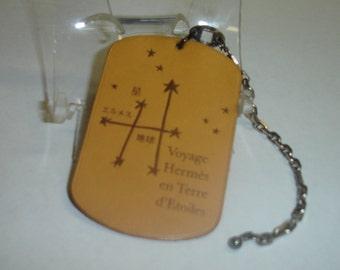 "Vintage HERMES Leather & Silver Keychain Made Expressly for Japan Market- ""Voyage Hermes en Terre D'Etoiles""  Very Rare"