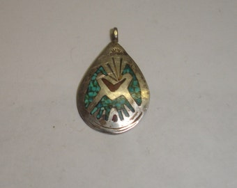 Vintage Signed Native American Sterling Silver Pendant w Coral & Turquoise Inlay Pendant Signed JD