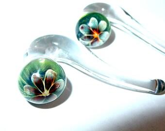 "7/16"" Flower talons gauged glass ear plugs earrings talons for stretched piercings"