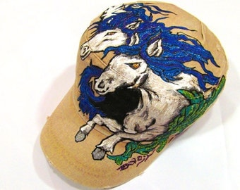 Three Horses tattoo inspired handpainted beige cap with adjustable band at the back