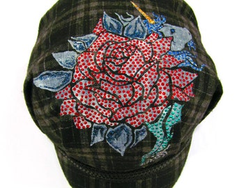 Newsboy Cap, Tattoo Designer Handpainted Rose with Unicorn Beret Hat (Hand Painted Initials or Names can be added)