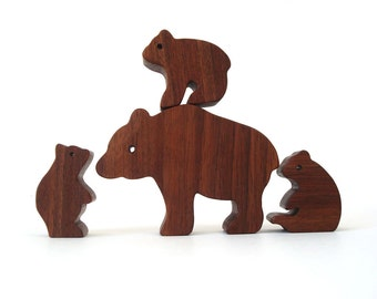 Wooden Brown Bear Family Mother Three Cubs Wood Animal Toys Hand Cut Scroll Saw