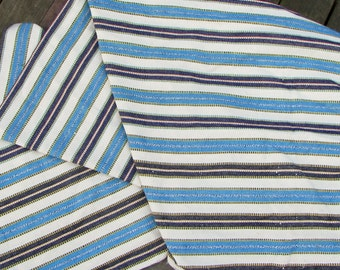Guatemalan Fabric in Blue and White Ikat Stripe